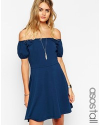 Asos Tall Gypsy Off Shoulder Mini Skater Dress