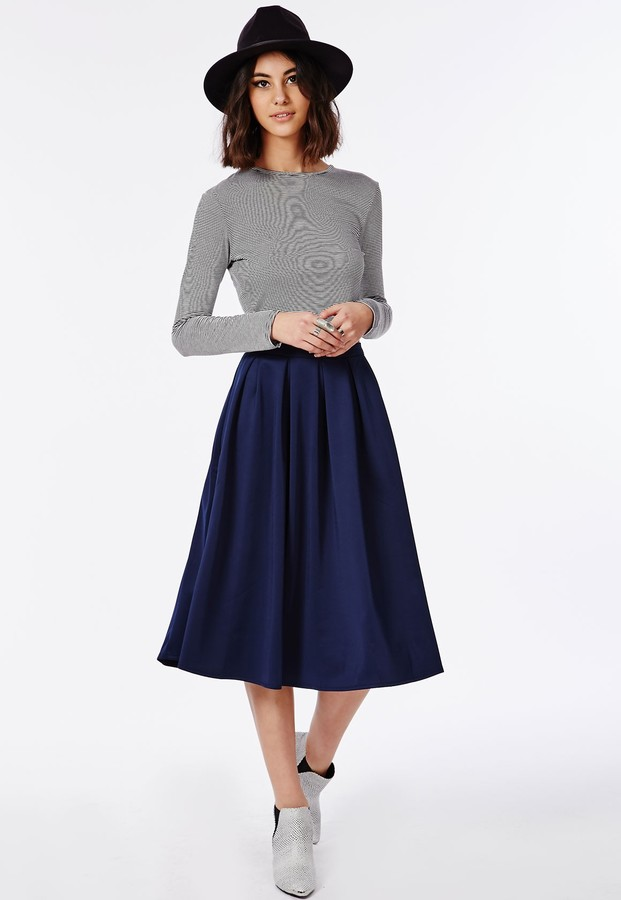 Navy Blue Midi Skirt - Skirts