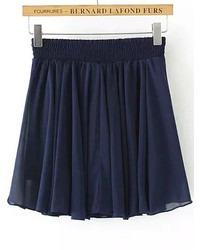 White Elastic Waist Pleated Chiffon Skirt