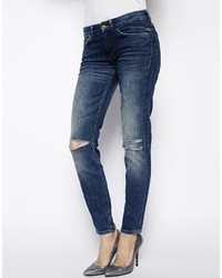 7 For All Mankind Skinny Ripped Jean Blue