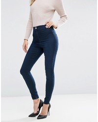 Asos Rivington High Waist Denim Jeggings In Debbie London Blue