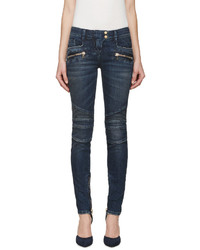 Balmain Blue Skinny Biker Jeans