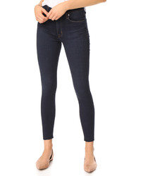 Hudson Barbara High Waist Super Skinny Jeans With Raw Hem