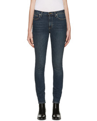 Saint Laurent Blue Cropped Skinny Jeans