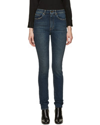 Saint Laurent Blue Original High Waisted Skinny Jeans
