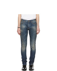 Saint Laurent Blue Skinny 5 Pocket Low Jeans