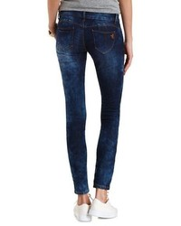 Charlotte Russe Dark Marble Wash Lifting Skinny Jeans