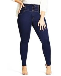 City Chic Plus Size Harley Corset Waist Stretch Skinny Jeans