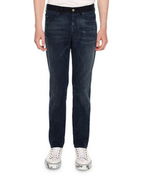 Lanvin Contrast Waistband Skinny 5 Pocket Jeans Blue