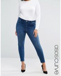 Asos Curve Curve Lisbon Midrise Skinny Jeans In Abbie Wash