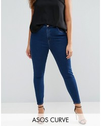 Asos Curve Curve Ridley High Waist Skinny Jeans In Deep Blue Wash