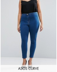 Asos Curve Curve Rivington Jegging In Rich Blue With Tobacco Stitch