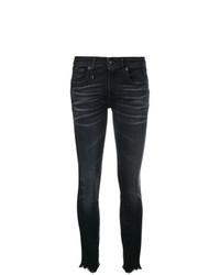R13 Distressed Hem Skinny Jeans