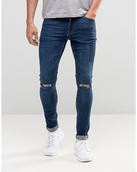 Asos Extreme Super Skinny Jeans With Knee Rips In Dark Wash