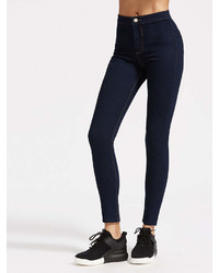 Romwe High Rise Skinny Jeans With Top Stitching