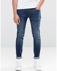 Jack & Jones Intelligence Skinny Jeans In Mid Blue Wash