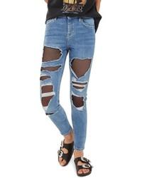 Topshop Jamie Fishnet Rip Skinny Jeans