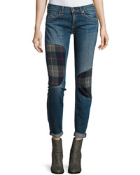 Rag & Bone Jean Flannel Patch Cuffed Skinny Jeans Champs