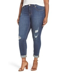 Melissa McCarthy Plus Size Seven7 Destructed Roll Cuff Stretch Skinny Jeans