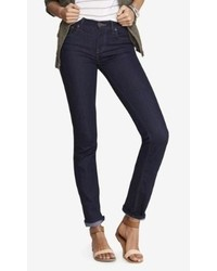 Express Mid Rise Dark Stretch Skinny Jeans