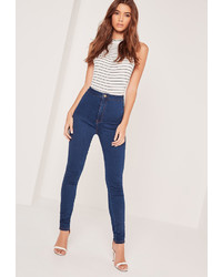 Missguided High Waisted Skinny Jeans Blue