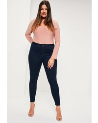 Missguided Plus Size Navy High Waisted Skinny Jeans