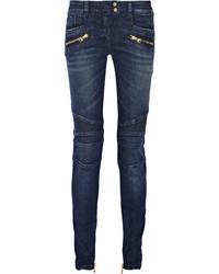 Balmain Moto Style Low Rise Skinny Jeans Blue