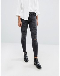 Only Ultimate Mid Waist Ankle Grazer Skinny Jeans With All Over Rips