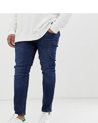 Jack & Jones Plus Size Skinny Fit Jean In Dark Blue