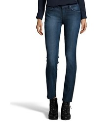 Rich And Skinny Dark Wash Stretch Denim Contrast Coated Split Victory Skinny Jeans