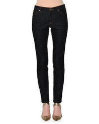 Valentino Rockstud Trim Skinny Jeans Navy Denim