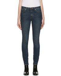 Saint Laurent Blue Cropped Skinny Jeans