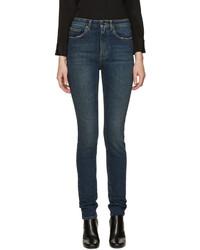 Saint Laurent Blue Original High Waisted Skinny Jeans