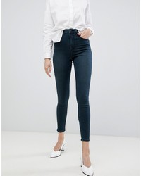 ASOS DESIGN Sculpt Me High Waisted Premium Jeans In Blackened Green Cast