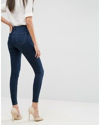 ASOS DESIGN Sculpt Me High Waisted Premium Jeans In Dark Wash Blue