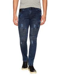 Side Quilted Skinny Washed Moto Jeans