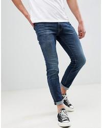 Jack & Jones Skinny Fit Turn Up Blue Denim Jeans
