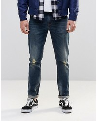 Asos Skinny Jeans In Dirty Blue With Rips
