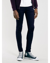 Topman Navy Overdyed Super Spray On Skinny Fit Jeans