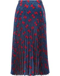Gucci Pliss Lam Midi Skirt Navy