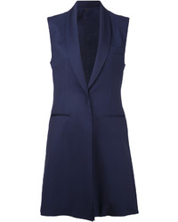 Navy Sleeveless Blazer