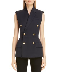 Givenchy Charm Button Sleeveless Double Breasted Jacket