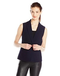 Nine West One Button Notch Lapel Sleeveless Jacket