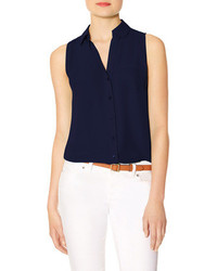 d145be786ee93 Navy Sleeveless Button Down Shirts for Women