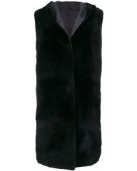 Furry detail sleeveless hooded coat medium 5359504