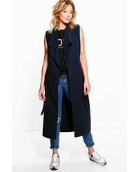 Boohoo Olivia Waterfall Belted Sleeveless Coat