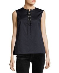Sleeveless poplin lace up top navy medium 3741496