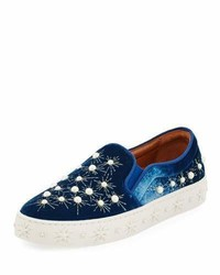 Aquazzura Cosmic Pearls Slip On Sneaker Ocean Blue