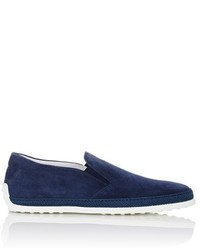 Tod's Raffia Trimmed Suede Slip On Sneakers Navy Size 75 M