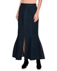 Stella McCartney Ivy Fluted Slit Front Denim Maxi Skirt Dark Blue